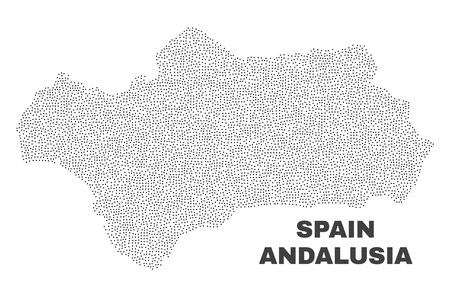 Andalusia Province map designed with little dots. Vector abstraction in black color is isolated on a white background. Random little elements are organized into Andalusia Province map. 矢量图像