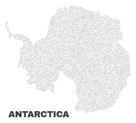 Antarctica continent map designed with little points. Vector abstraction in black color is isolated on a white background. Scattered little points are organized into Antarctica continent map. Illustration
