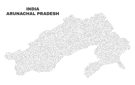 Arunachal Pradesh State map designed with little points. Vector abstraction in black color is isolated on a white background. Scattered little points are organized into Arunachal Pradesh State map. Illustration