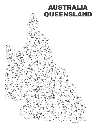 Australian Queensland map designed with little dots. Vector abstraction in black color is isolated on a white background. Random little elements are organized into Australian Queensland map.