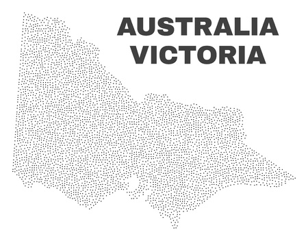 Australian Victoria map designed with small points. Vector abstraction in black color is isolated on a white background. Scattered small points are organized into Australian Victoria map.