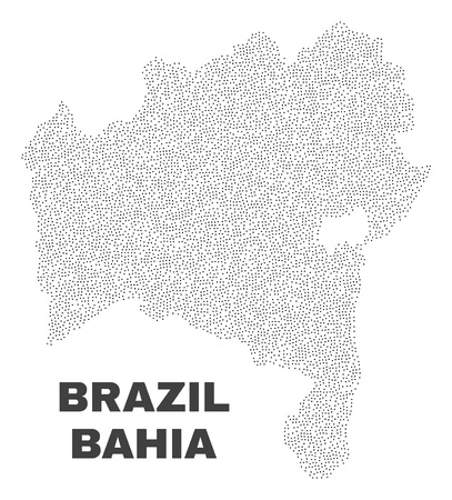 Bahia State map designed with small points. Vector abstraction in black color is isolated on a white background. Scattered small points are organized into Bahia State map.