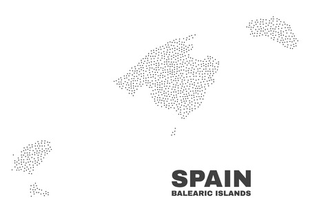 Balearic Islands map designed with tiny dots. Vector abstraction in black color is isolated on a white background. Random small dots are organized into Balearic Islands map.