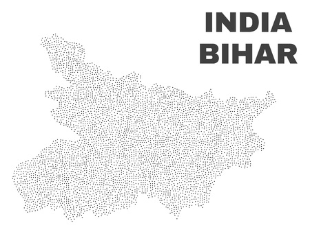 Bihar State map designed with tiny points. Vector abstraction in black color is isolated on a white background. Random little points are organized into Bihar State map.