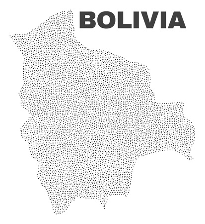 Bolivia map designed with tiny dots. Vector abstraction in black color is isolated on a white background. Scattered tiny points are organized into Bolivia map.