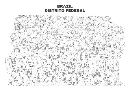 Brazil Distrito Federal map designed with little points. Vector abstraction in black color is isolated on a white background. Scattered little dots are organized into Brazil Distrito Federal map.
