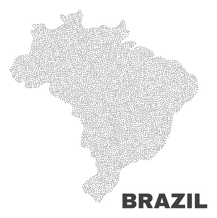 Brazil map designed with little points. Vector abstraction in black color is isolated on a white background. Scattered little points are organized into Brazil map.