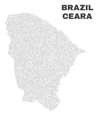 Ceara state map designed with little points. Vector abstraction in black color is isolated on a white background. Random tiny points are organized into Ceara state map. 일러스트