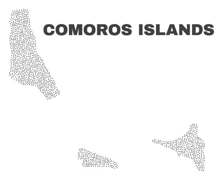 Comoros Islands map designed with small dots. Vector abstraction in black color is isolated on a white background. Random tiny dots are organized into Comoros Islands map.