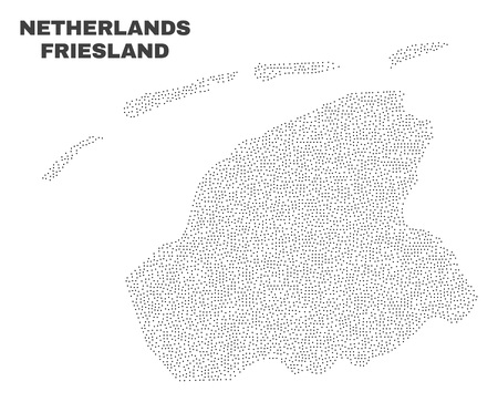 Friesland Province map designed with tiny points. Vector abstraction in black color is isolated on a white background. Scattered tiny points are organized into Friesland Province map.