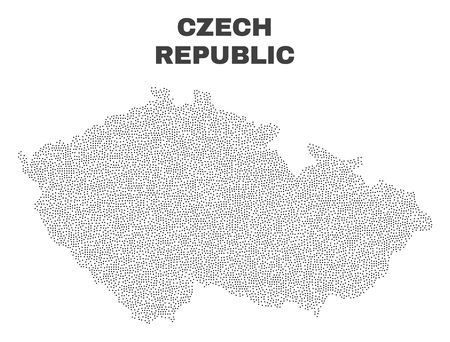 Czech Republic map designed with little dots. Vector abstraction in black color is isolated on a white background. Random little points are organized into Czech Republic map.