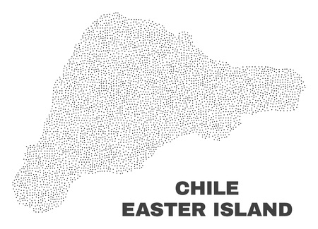 Easter Island map designed with tiny points. Vector abstraction in black color is isolated on a white background. Random tiny points are organized into Easter Island map.
