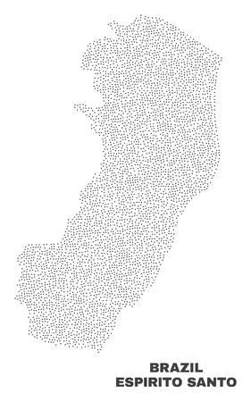 Espirito Santo State map designed with little points. Vector abstraction in black color is isolated on a white background. Scattered little points are organized into Espirito Santo State map.