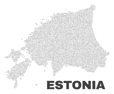 Estonia map designed with little dots. Vector abstraction in black color is isolated on a white background. Scattered little elements are organized into Estonia map.  イラスト・ベクター素材