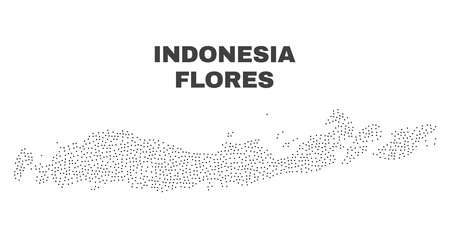Flores Islands of Indonesia map designed with small dots. Vector abstraction in black color is isolated on a white background. Random small points are organized into Flores Islands of Indonesia map.