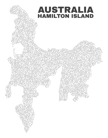 Hamilton Island map designed with small dots. Vector abstraction in black color is isolated on a white background. Scattered small dots are organized into Hamilton Island map.