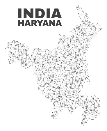 Haryana State map designed with small points. Vector abstraction in black color is isolated on a white background. Random small points are organized into Haryana State map.