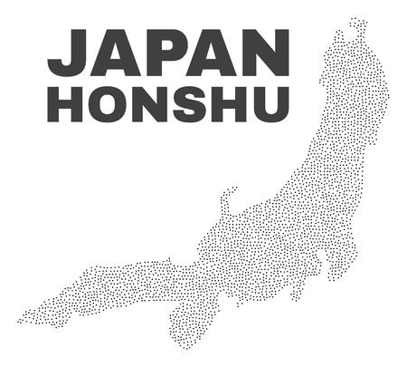 Honshu Island map designed with small points. Vector abstraction in black color is isolated on a white background. Scattered small points are organized into Honshu Island map. Illustration