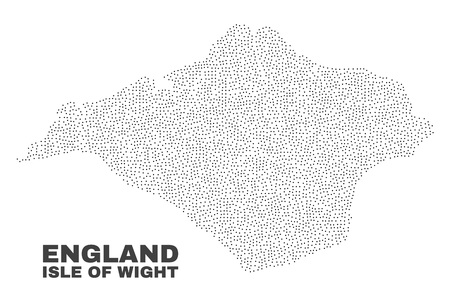 Isle of Wight map designed with small points. Vector abstraction in black color is isolated on a white background. Scattered small particles are organized into Isle of Wight map.