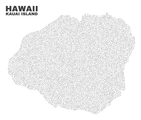 Kauai Island map designed with small points. Vector abstraction in black color is isolated on a white background. Scattered small points are organized into Kauai Island map.
