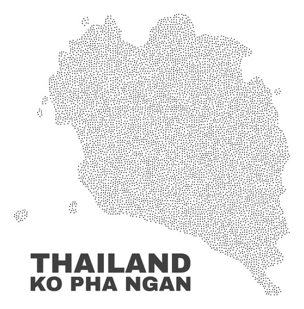 Ko Pha Ngan map designed with little points. Vector abstraction in black color is isolated on a white background. Random little particles are organized into Ko Pha Ngan map.