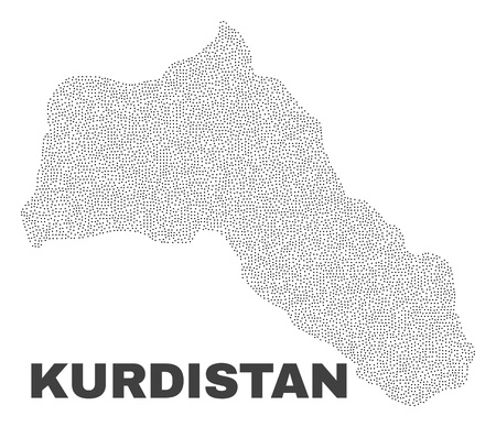 Kurdistan map designed with small points. Vector abstraction in black color is isolated on a white background. Scattered small particles are organized into Kurdistan map.