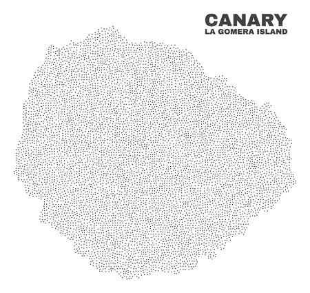 La Gomera Island map designed with tiny points. Vector abstraction in black color is isolated on a white background. Random tiny points are organized into La Gomera Island map. Illustration