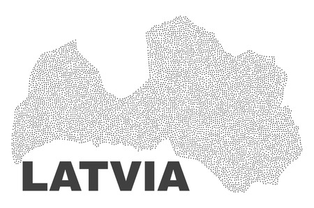 Latvia map designed with tiny points. Vector abstraction in black color is isolated on a white background. Scattered small points are organized into Latvia map.