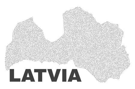 Mapa de Letonia diseñado con pequeños puntos. La abstracción del vector en color negro se aísla en un fondo blanco. Los pequeños puntos dispersos se organizan en el mapa de Letonia.