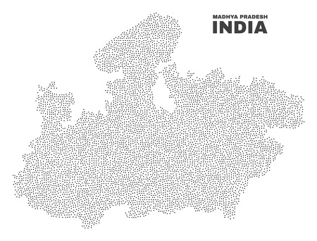 Madhya Pradesh State map designed with little dots. Vector abstraction in black color is isolated on a white background. Random small dots are organized into Madhya Pradesh State map.