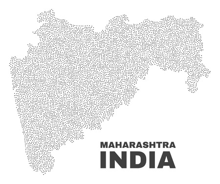 Maharashtra State map designed with tiny dots. Vector abstraction in black color is isolated on a white background. Scattered tiny dots are organized into Maharashtra State map.