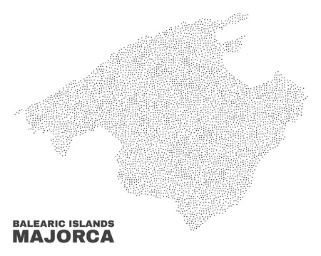 Majorca map designed with little points. Vector abstraction in black color is isolated on a white background. Scattered little particles are organized into Majorca map.  イラスト・ベクター素材