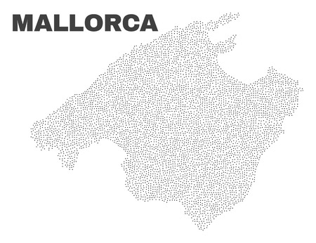 Mallorca map designed with little dots. Vector abstraction in black color is isolated on a white background. Scattered little particles are organized into Mallorca map.