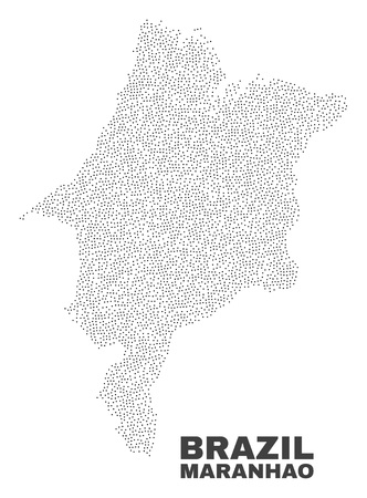 Maranhao State map designed with small dots. Vector abstraction in black color is isolated on a white background. Random small dots are organized into Maranhao State map. 일러스트