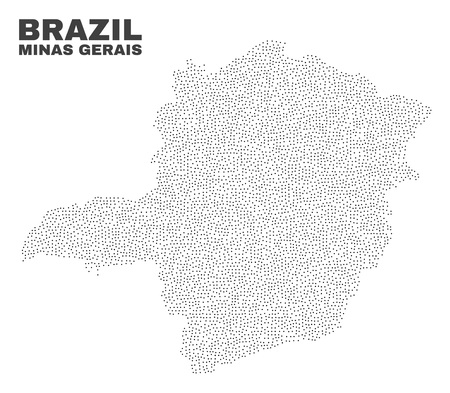 Minas Gerais State map designed with small points. Vector abstraction in black color is isolated on a white background. Scattered small points are organized into Minas Gerais State map. 일러스트
