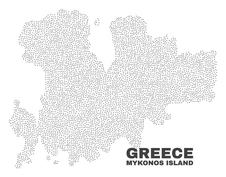 Mykonos Island map designed with small dots. Vector abstraction in black color is isolated on a white background. Scattered small dots are organized into Mykonos Island map.