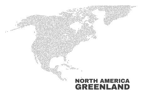 Carte de l'Amérique du Nord et du Groenland conçue avec de petits points. L'abstraction vectorielle en couleur noire est isolée sur fond blanc. Vecteurs
