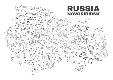 Novosibirsk Region map designed with tiny dots. Vector abstraction in black color is isolated on a white background. Random tiny dots are organized into Novosibirsk Region map.