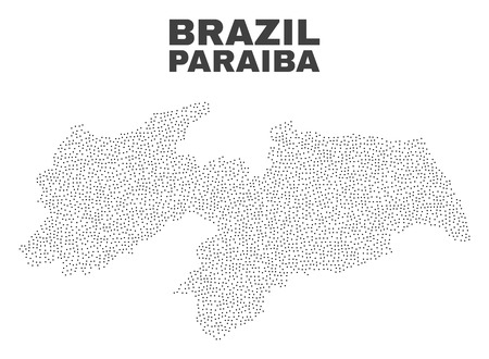 Paraiba State map designed with little points. Vector abstraction in black color is isolated on a white background. Scattered little points are organized into Paraiba State map. 일러스트