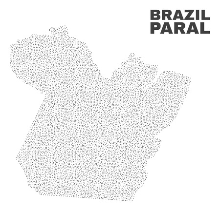 Paral State map designed with small points. Vector abstraction in black color is isolated on a white background. Random small items are organized into Paral State map.