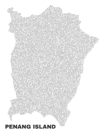 Penang Island map designed with little points. Vector abstraction in black color is isolated on a white background. Scattered little dots are organized into Penang Island map. Illustration