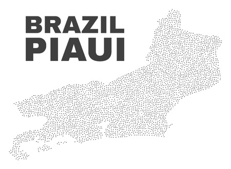Piaui State map designed with small dots. Vector abstraction in black color is isolated on a white background. Random small dots are organized into Piaui State map. 일러스트