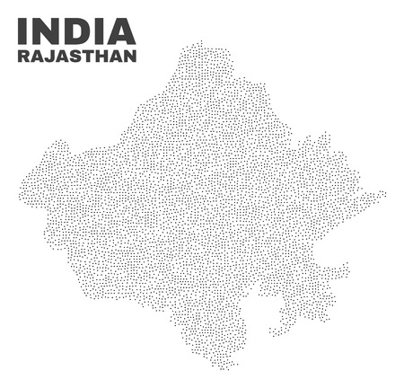 Rajasthan State map designed with small dots. Vector abstraction in black color is isolated on a white background. Scattered small elements are organized into Rajasthan State map. 일러스트
