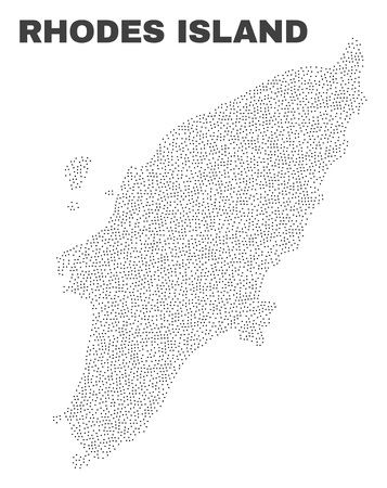 Rhodes Island map designed with little dots. Vector abstraction in black color is isolated on a white background. Random little dots are organized into Rhodes Island map. Vettoriali