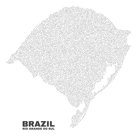 Rio Grande do Sul State map designed with little dots. Vector abstraction in black color is isolated on a white background. Scattered little particles are organized into Rio Grande do Sul State map.