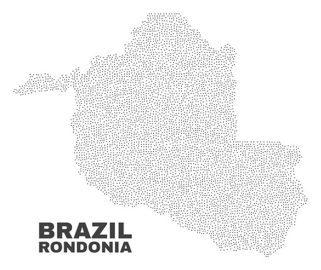 Rondonia State map designed with small points. Vector abstraction in black color is isolated on a white background. Random small points are organized into Rondonia State map.