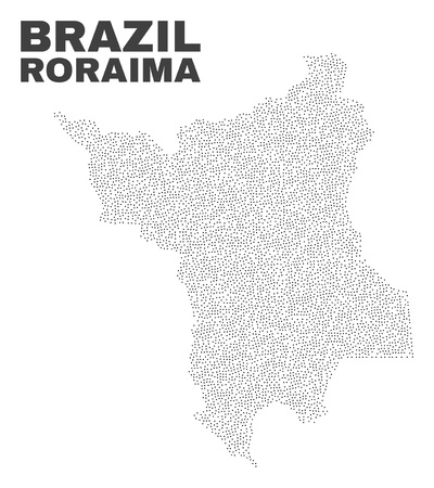 Roraima State map designed with little points. Vector abstraction in black color is isolated on a white background. Random little points are organized into Roraima State map.
