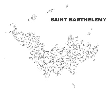Saint Barthelemy map designed with little points. Vector abstraction in black color is isolated on a white background. Scattered little dots are organized into Saint Barthelemy map.