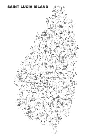 Saint Lucia Island map designed with tiny points. Vector abstraction in black color is isolated on a white background. Scattered little points are organized into Saint Lucia Island map.