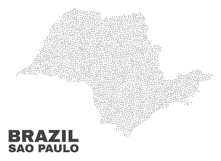 Sao Paulo State map designed with little points. Vector abstraction in black color is isolated on a white background. Scattered little items are organized into Sao Paulo State map.